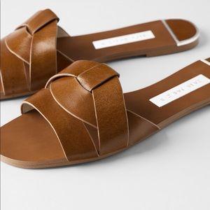 Zara brown leather crossover slide sandals
